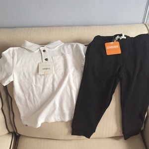 Other - Boys white polo and sweat pants